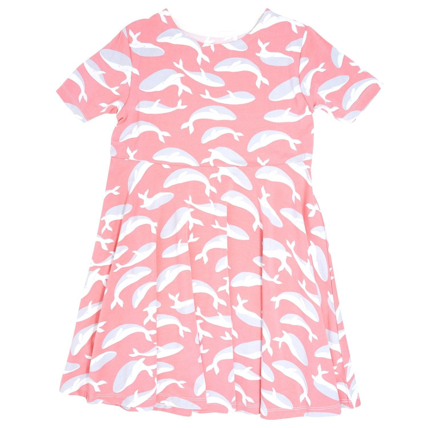 Swirly Girl Dress w/Cap Sleeve - Pink Whale Dresses sweetbambooclothing