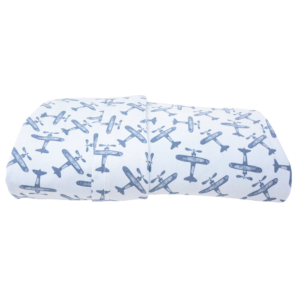 Twin Sheet Set (Fitted + 1 Pillow Cases) - Airplane Blue - Sweet Bamboo