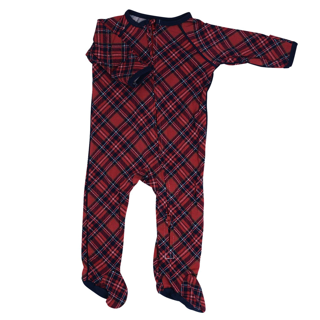 Zipper Footie - Red Plaid - Sweet Bamboo