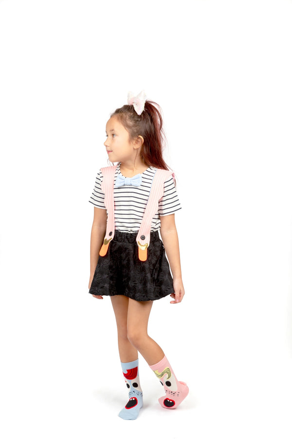 Bird Girl Pink Stripes Dress