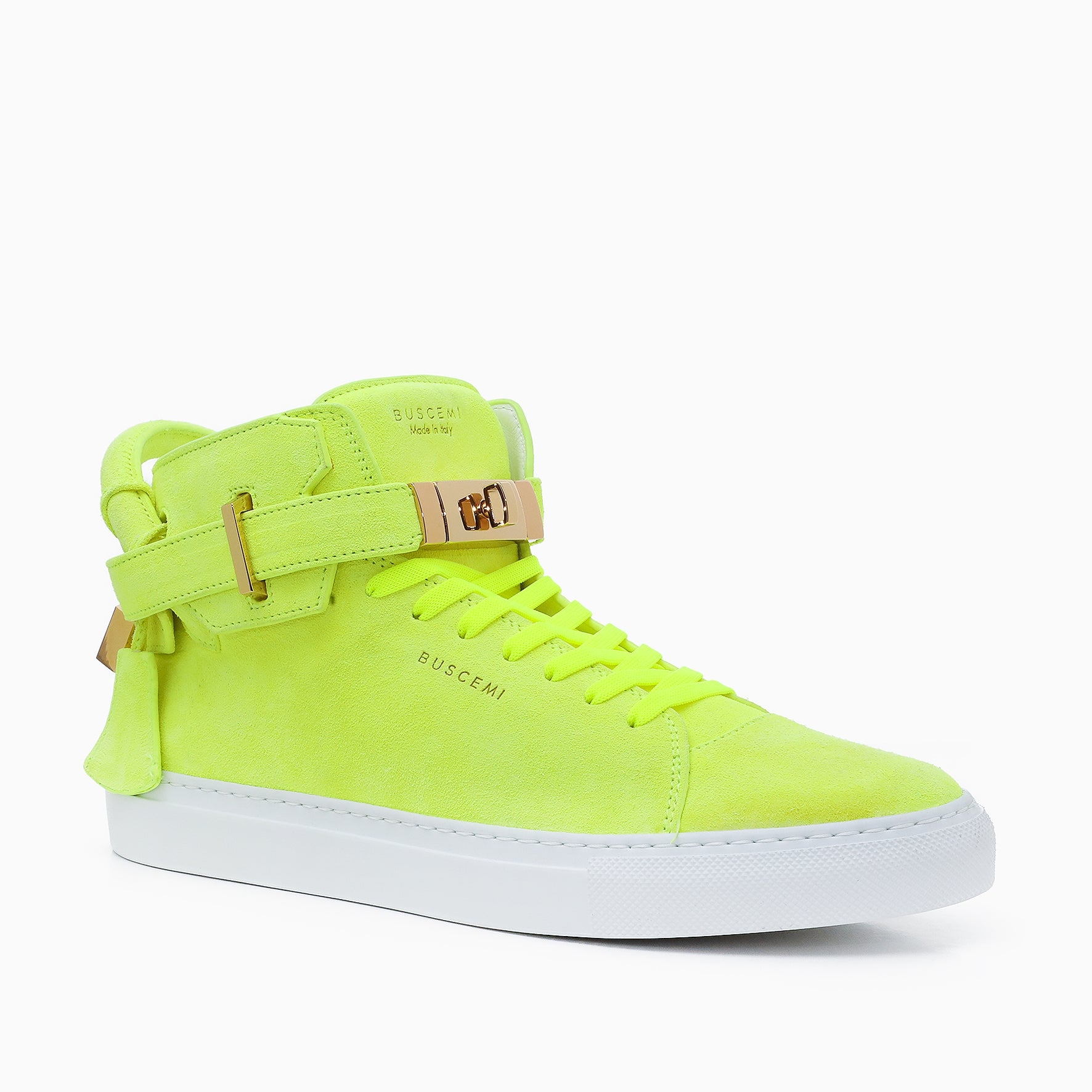 Mens italian leather high top yellow sneaker from Buscemi