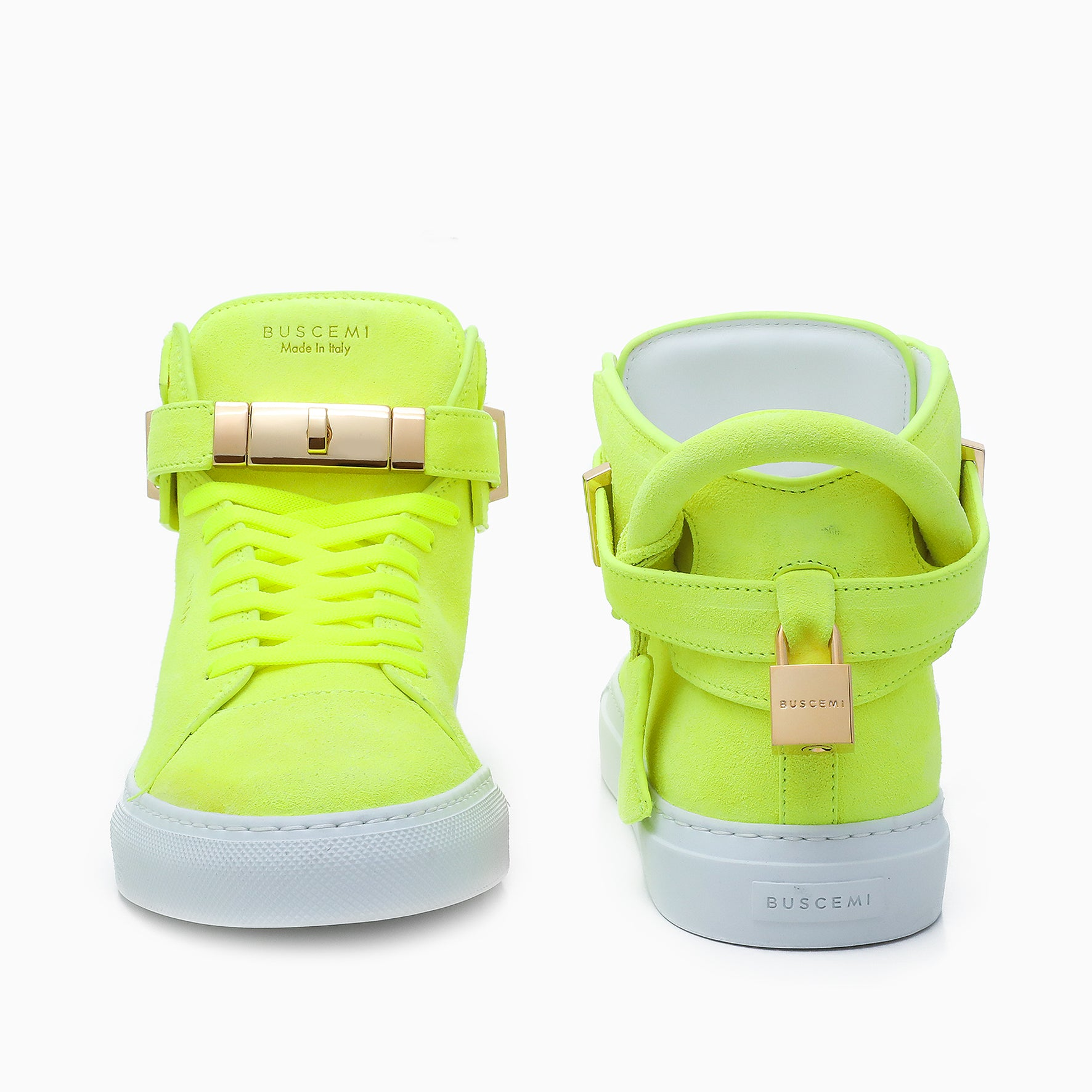 Italian made mens  high top yellow sneaker from Buscemi