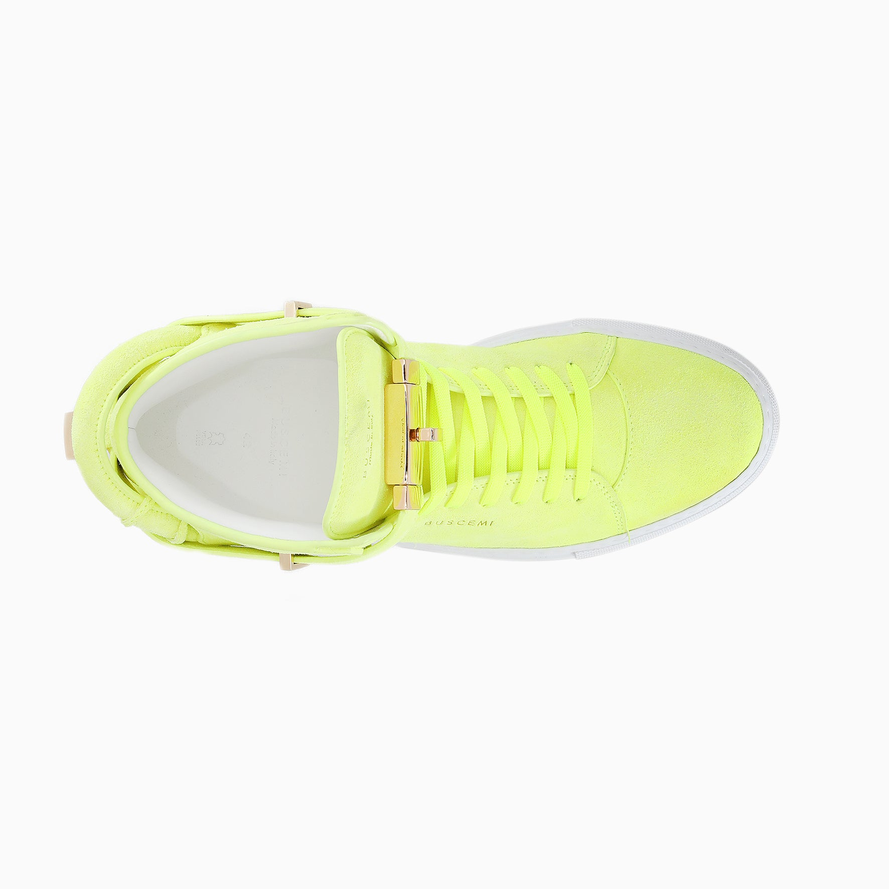Buscemi italian leather , yellow high top sneaker