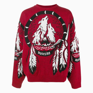 Wolves Knit Crewneck | Black-Red