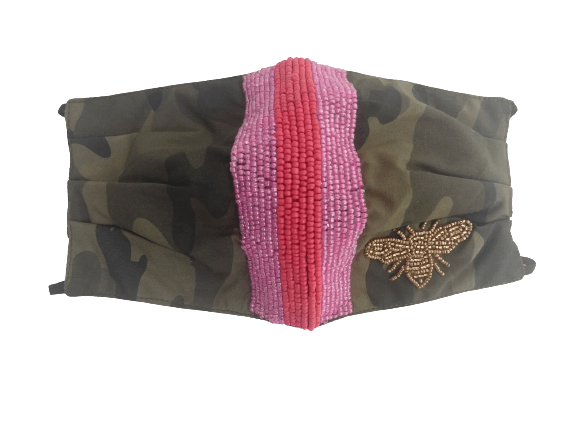 Camo Mask with Pink/Red Stripe - Bayshore Babe