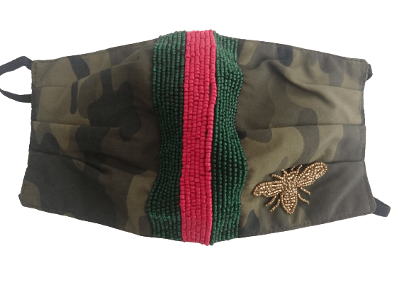 Camo Mask with Red/Green Stripe - Bayshore Babe