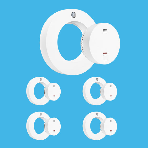 Livy Protect Set of 5 - All-in-One Smoke Detector, Motion Detector, Air Quality, Temperature, Air Humidity