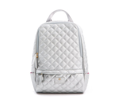 Cougar Quilted - Silver, Parisian Peony, $150 - $200, Backpacks, Bags, Eco Polyurethane, New, Silver, women, Women - Bags - Backpacks