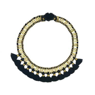 Temple Tassel Collar Necklace, Parisian Peony, $50 - $75, Black, Gold, Jewelry, Necklaces, Sale, White, women, Women - Jewelry - Necklaces