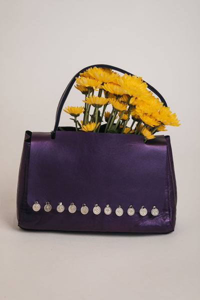 purple handbag bynes new york leather handmade