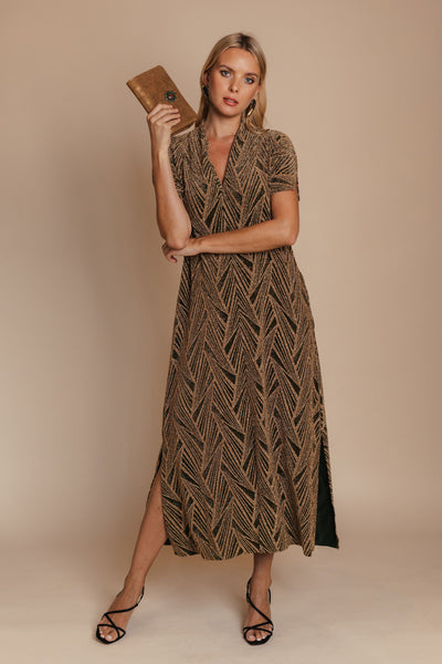 Golden Geometric Kaftan Dress bynes new york