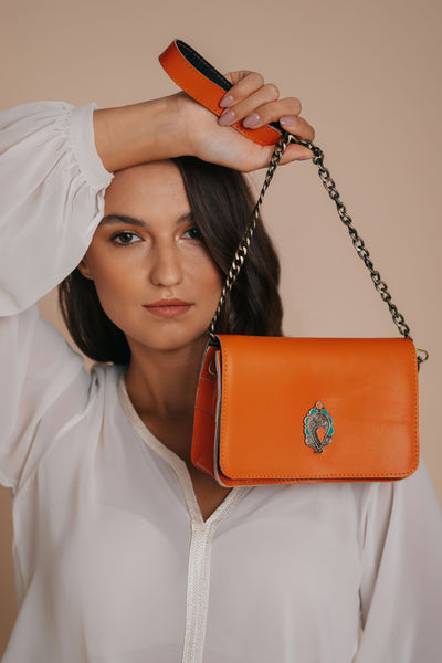 Orange Crossbody bag bynes new york