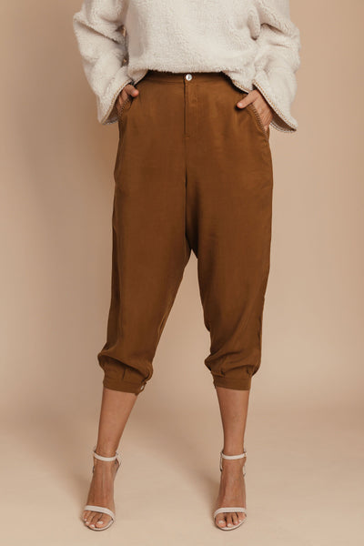 Organic Tencel Tapered Camel pants bynes new york