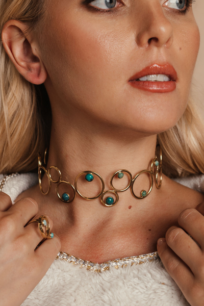 Encrusted Turquoise Choker Bynes New York