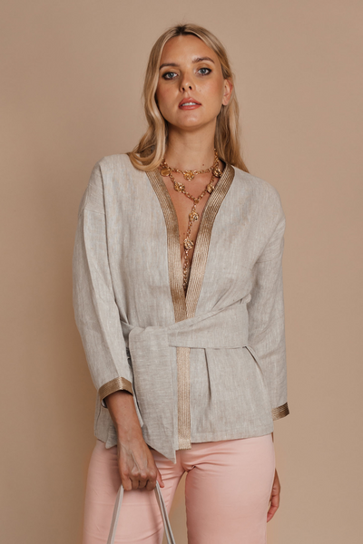 Organic Linen Jacket with Knot details