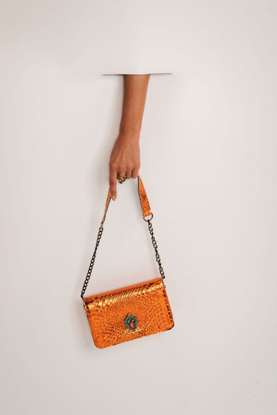 Leather Crossbody Bag - shiny orange bynes new york