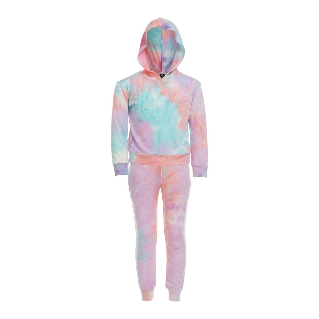 Kids will love this relaxed sweat set that incliudes a hoodie sweat shirt and sweat pants with pockets, drawstring and elastic waist made of a soft, comfortable blended fabric. Mix and match with solid colors to change it up.