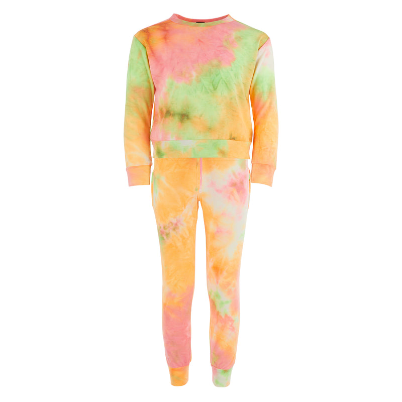 Girls French Terry tie dye crew neck top sweat set with elastic waist sweat pant