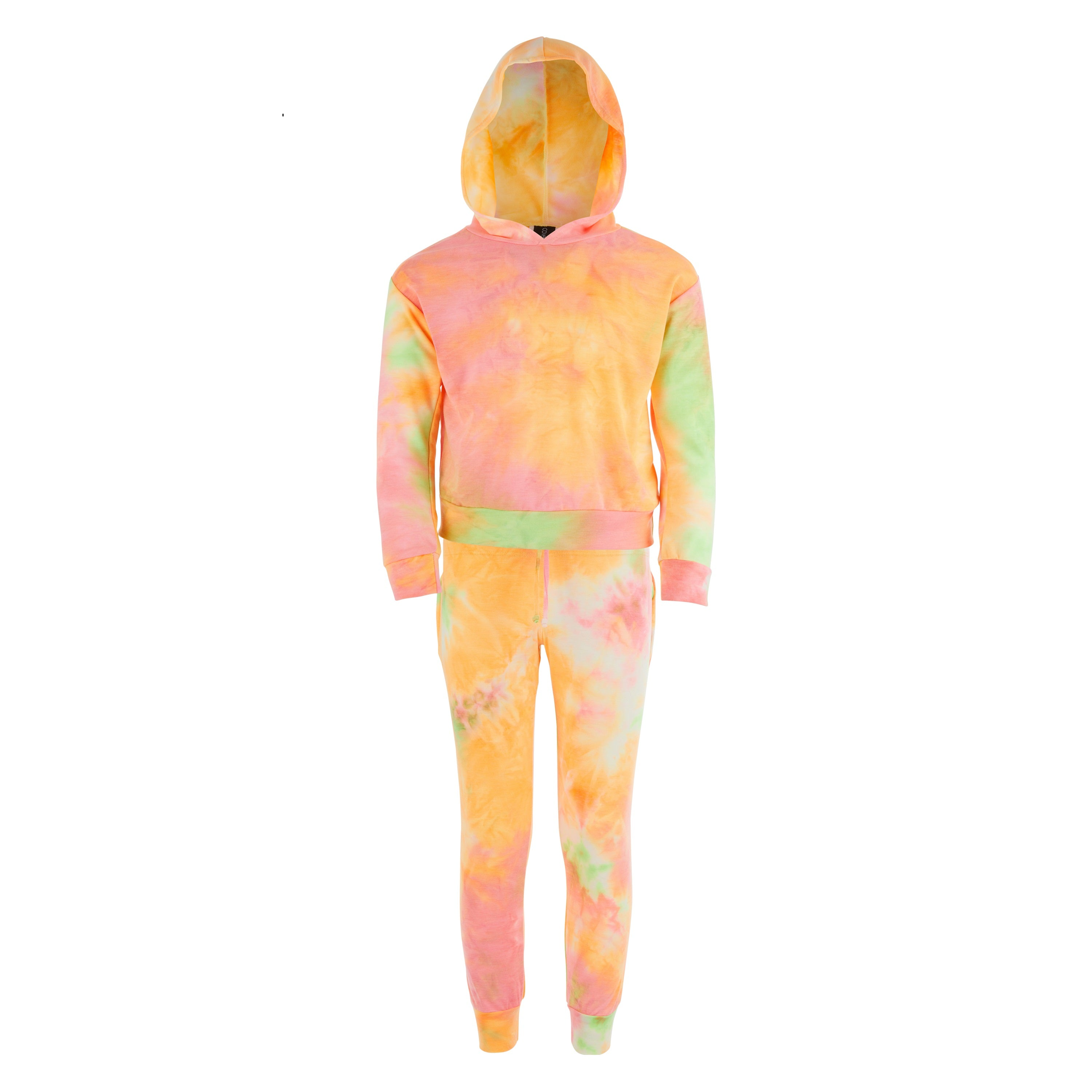 Girls French Terry tie dye hoodie top sweat set with elastic waist sweat pant