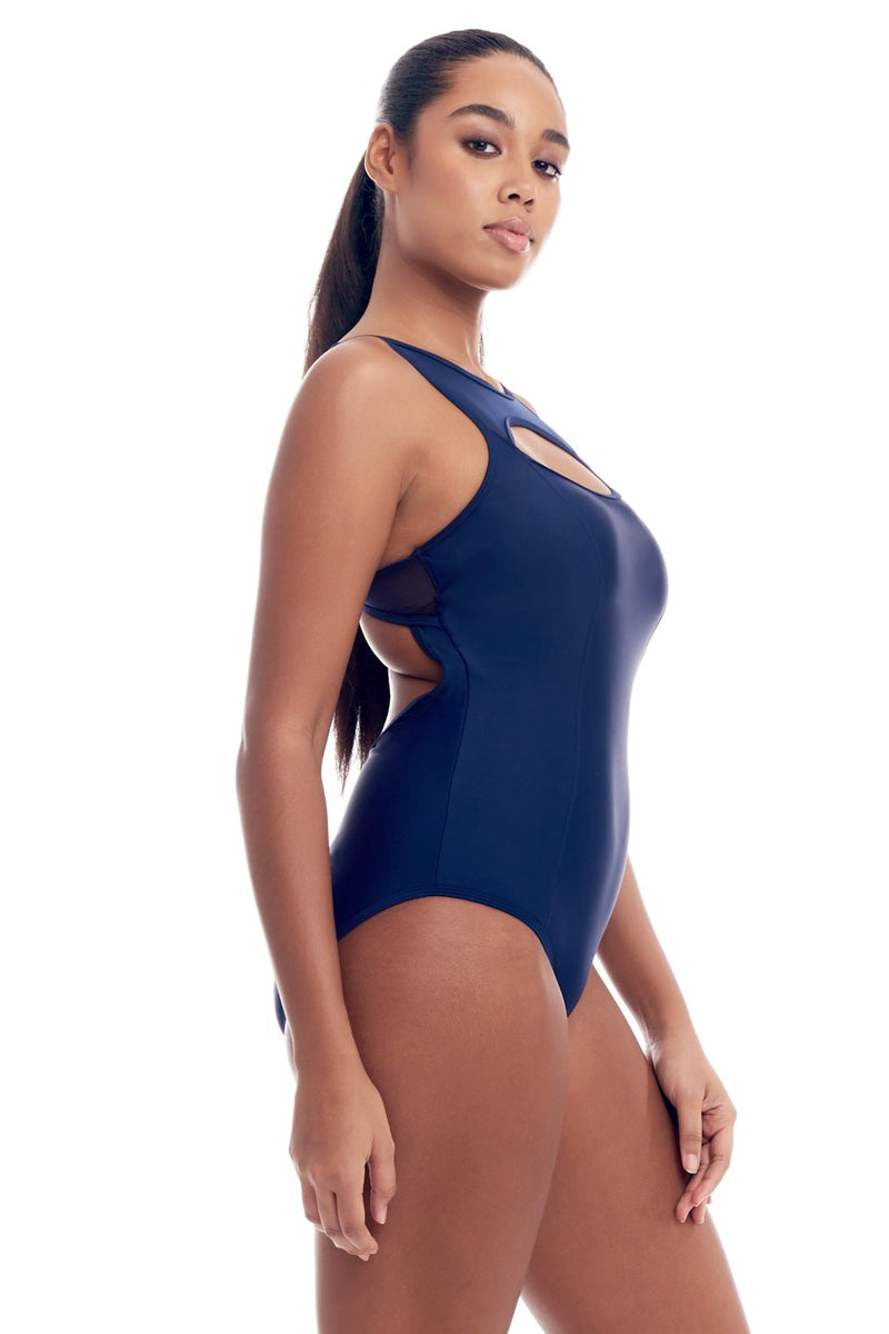 Sporty Mesh One-Piece tummy control Swimsuit for women, regular & plus size swimwear, with illusion scoop neck, peek-a-boo cutouts & power mesh lined bathing suit in 5 colors by Cover Girl