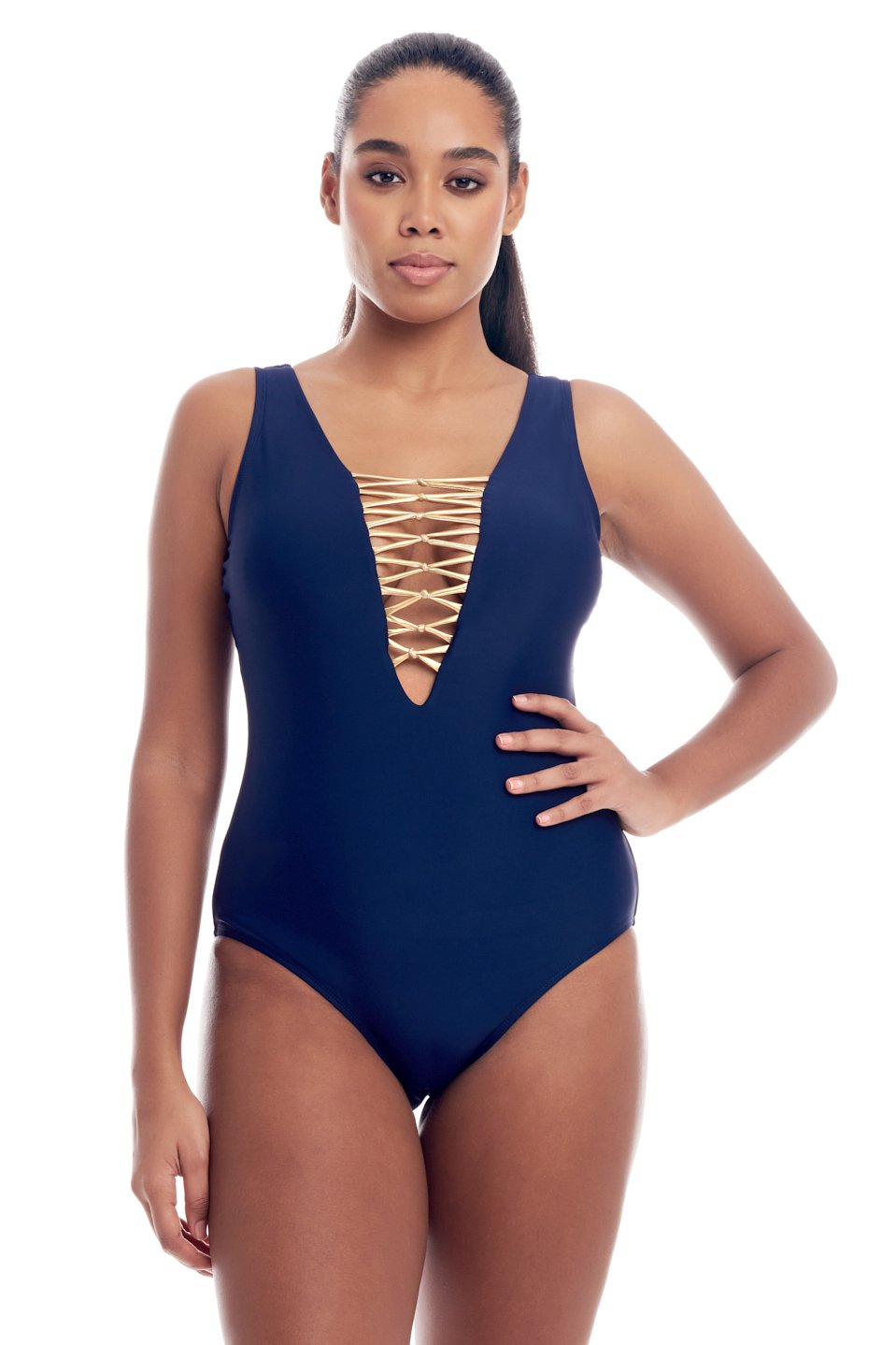 Bold & beautiful metallic front lace-up one-piece swimsuit for women in regular and plus size body shaping swimwear bathing suits in 4 colors by Cover Girl Swim