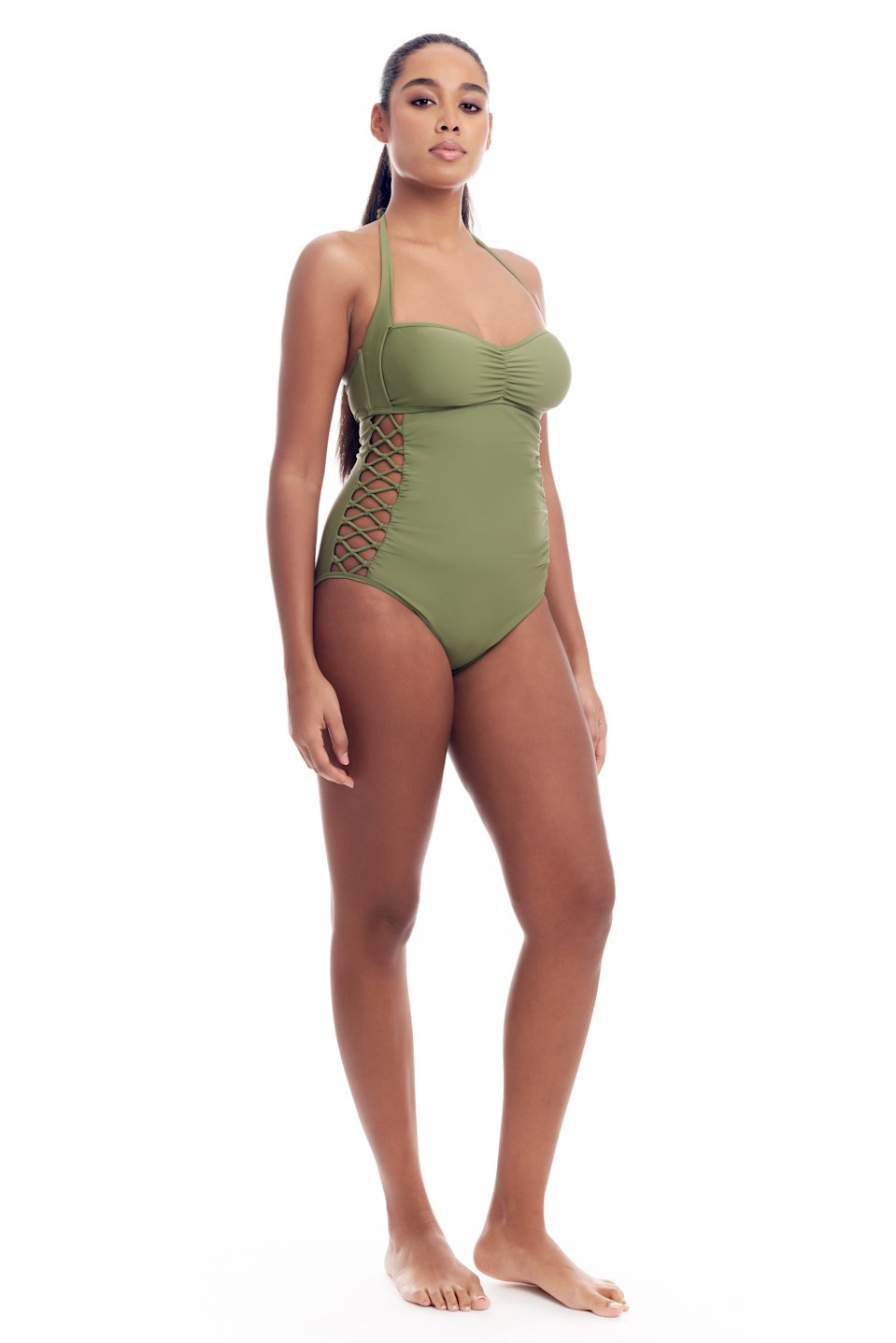 Side lace-up, adjustable halter strap one-piece swimsuit for women in regular and plus sizes body shaping swimwear with tummy control bathing suits in 4 colors by Cover Girl Shop