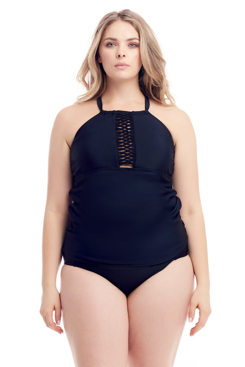 Cover Girl's sexy yet mysterious lace up, shirred bikini tankini swimsuit top for women in regular & plus size swimwear flattering bathing suits in 4 colors/prints
