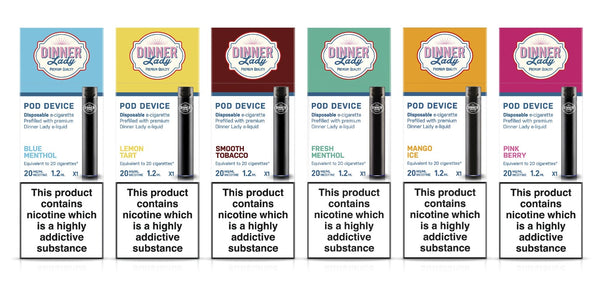 Dinner Lady disposable e cig flavours (left to right) Blue Menthol, Lemon Tart, Smooth Tobacco, Fresh Menthol, Mango Ice and Pink Berry