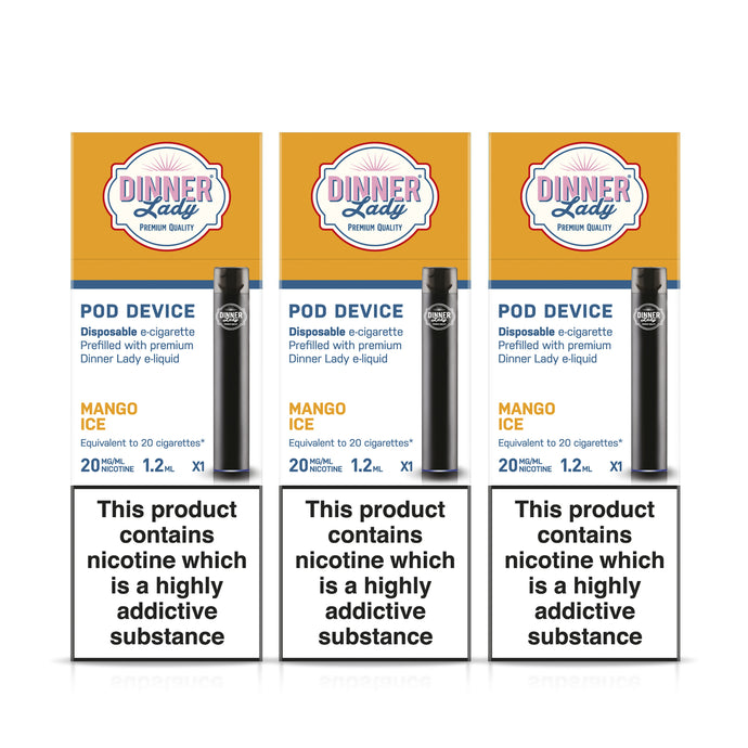 Three Pack - Dinner Lady Mango Ice Disposable E-Cigarette