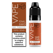 Load image into Gallery viewer, Vape 24/7 USA Tobacco 50:50 10ml E-Liquid