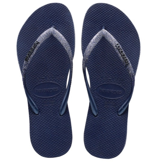 havaianas slim sparkle navy blue dames slippers