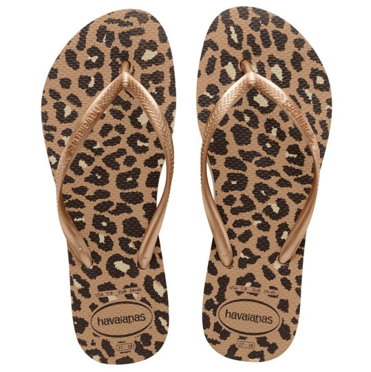 Havaianas slim flatform animals rose gold dames slippers