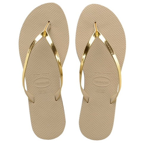 havaianas you metallic sand grey light golden slippers