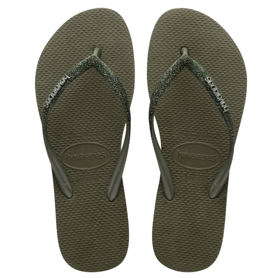 havaianas slim glitter green olive dames slippers
