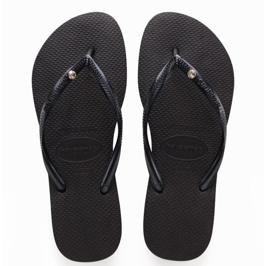 havaianas slim crystal glamour black dames slippers