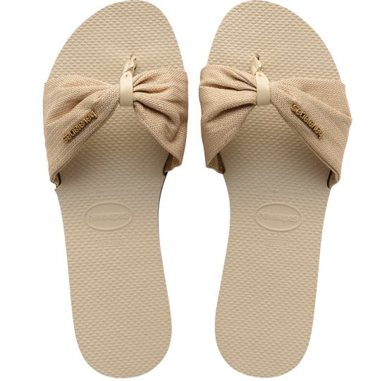 havaianas you st tropez shine beige dames slippers