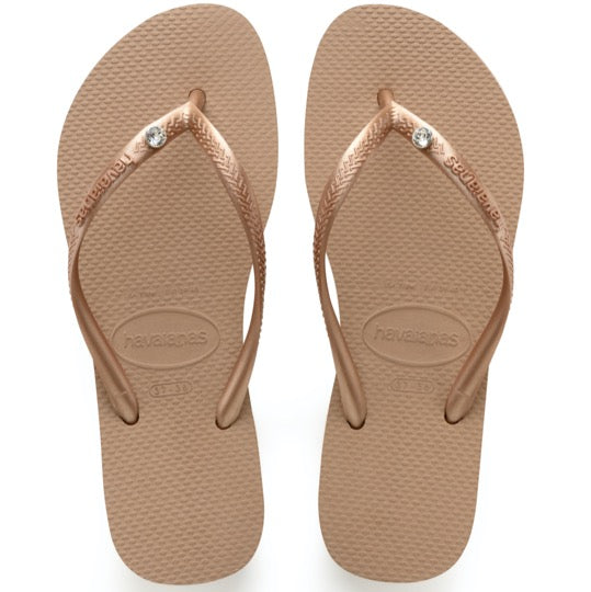 havaianas slim crystal glamour rose gold dames slippers