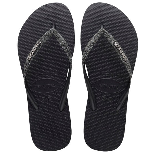 havaianas kids slim glitter black grey metallic