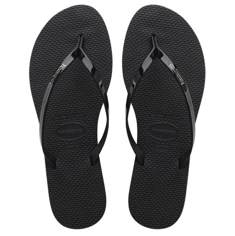 havaianas you metallic black dames slippers