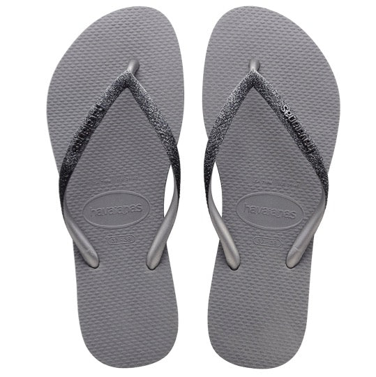 havaianas slim sparkle steel grey dames slippers