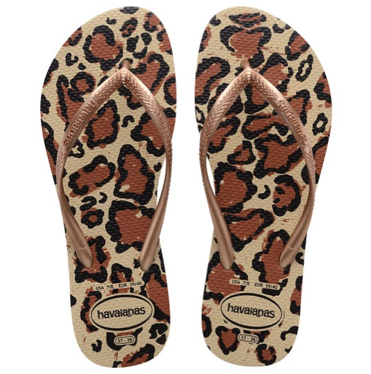 HAVAIANAS slim animals beige goude dames slippers