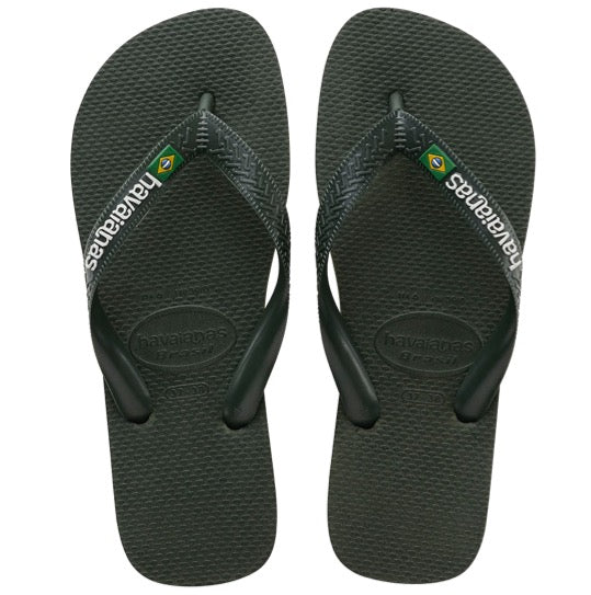 havaianas brasil logo green olive slippers