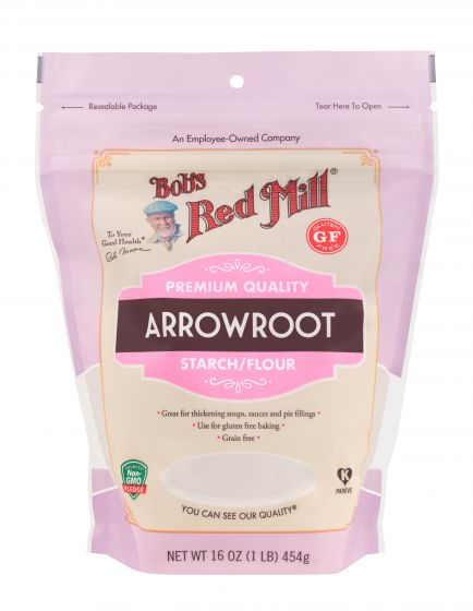 pink back of 1 pound of arrowroot with a gluten free label in red