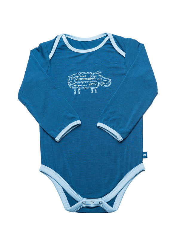 Long sleeve onesie - Hugh the hippo - SNUGALICIOUS BAMBOO