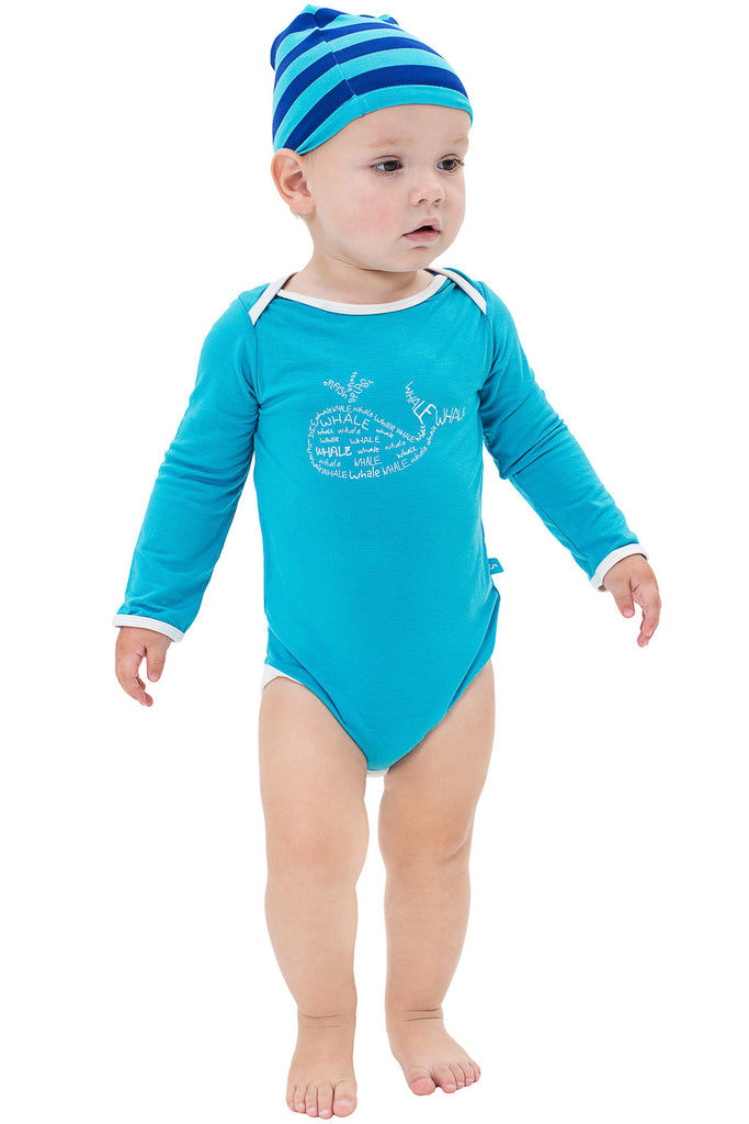Long sleeve onesie - Drew the Whale - SNUGALICIOUS BAMBOO