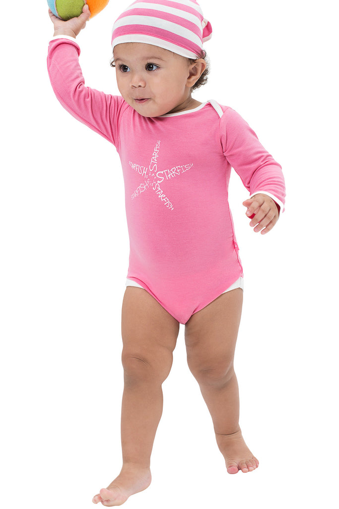 Baby shopping online - Bamboo starfish onesie with matching coral stripe beanie