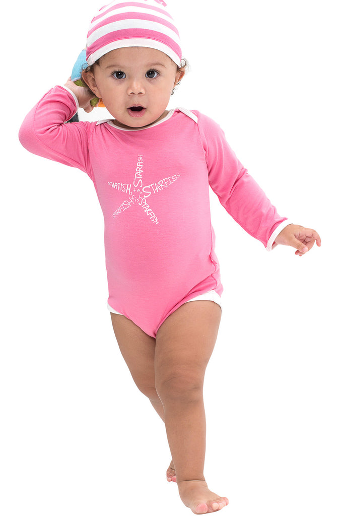 Bamboo onesie - long sleeve - Jessica the starfish - SNUGALICIOUS BAMBOO