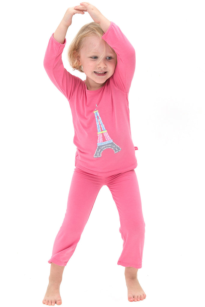 Bamboo long sleeve tee - Eliza the Eiffel tower - SNUGALICIOUS BAMBOO