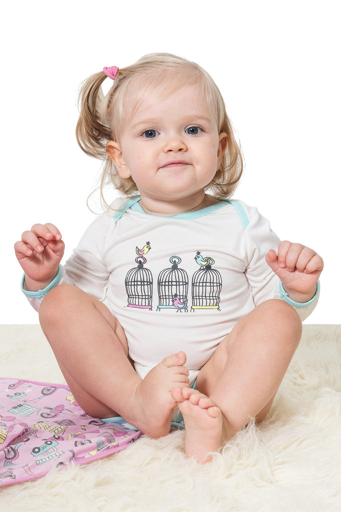 Bamboo long sleeve onesie - Lucy's Birdcage - SNUGALICIOUS BAMBOO