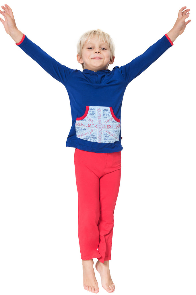 Boy's union jack bamboo hoodie - Super soft loungewear by Snug-a-licious